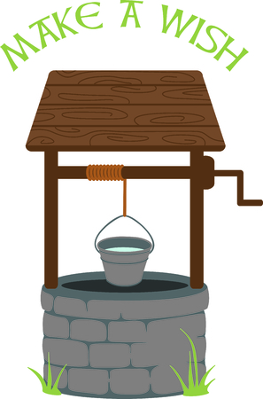 come back: This lovely wishing well brings back memories of pennies for wishes.  This design is a stitchers dream come true with its tasteful detail and sharp lines. Illustration