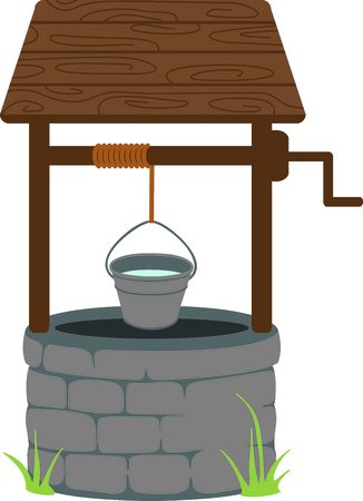 well: This lovely wishing well brings back memories of pennies for wishes.  This design is a stitchers dream come true with its tasteful detail and sharp lines. Illustration