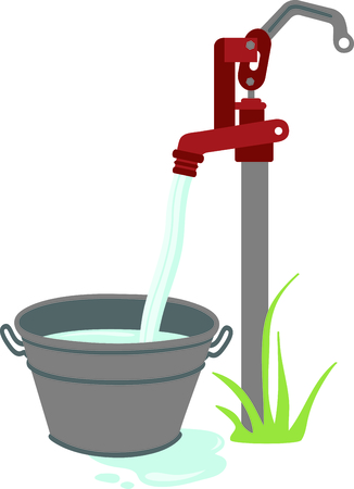 A lovely throwback to a simpler time of life on a farm.  This water pump and bucket make a pretty embellishment for most any farm or country themed project. Illustration