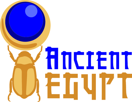 egyptian culture: Celebrate egyptian culture with a beautiful scarab. Illustration