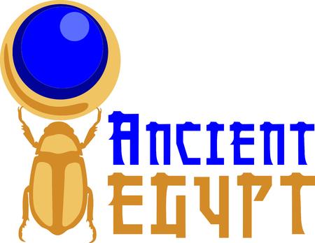 Celebre la cultura egipcia con un hermoso escarabajo. Foto de archivo - 43867515