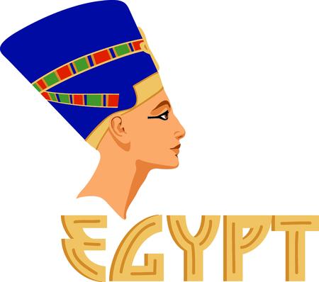 네페르티티 (Nefertiti) 조각품으로 이집트 문화를 기립니다. 일러스트