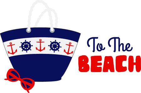themed: Nautical themed beach tote with sunglasses.