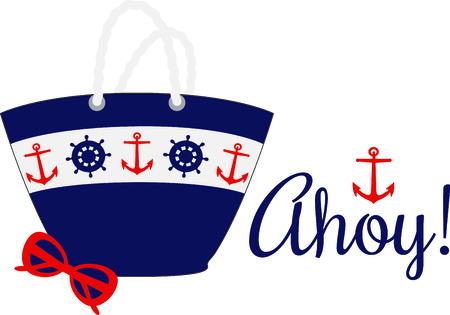 tote: Nautical themed beach tote with sunglasses.