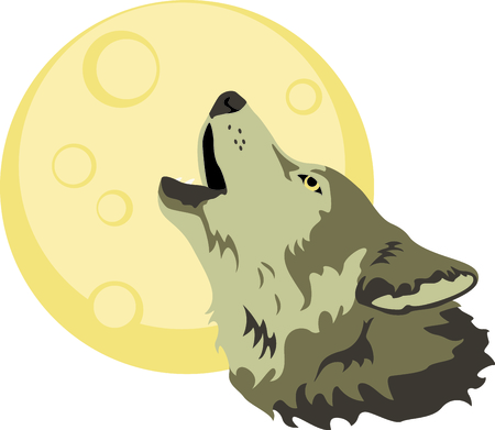 howl: A howling wolf is a great symbol for a nature project. Illustration