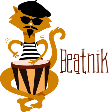 bongo drum: Time to throwback to the classic retro cat.  A perfect image for your next design