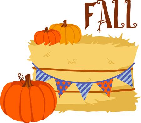 俵: 秋はカボチャの収穫を感謝する季節です。  イラスト・ベクター素材