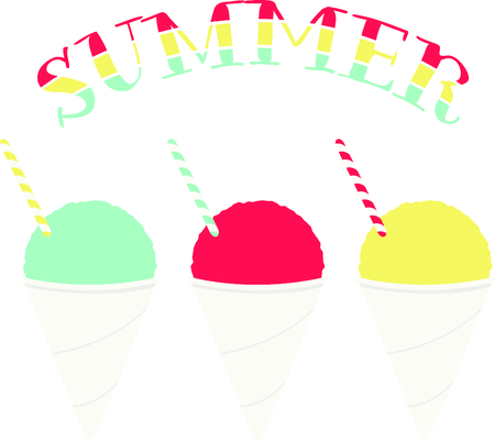 snow cone: Three flavors of snow cones for iced dessert fanciers.