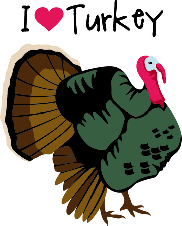 Fall is the season to give thanks. Add this turkey to your Thanksgiving design.