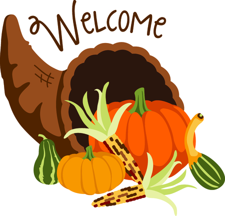cornucopia: El oto�o es la temporada para dar gracias. A�adir este cuerno de la abundancia a su dise�o de Acci�n de Gracias.