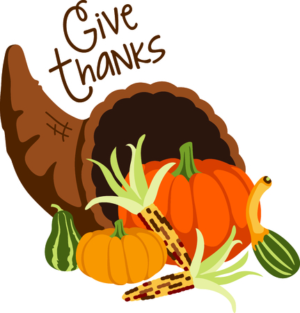 Fall is the season to give thanks. Add this cornucopia to your Thanksgiving design.