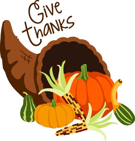 Herfst is het seizoen te danken. Voeg deze hoorn des overvloeds aan uw ontwerp Thanksgiving.