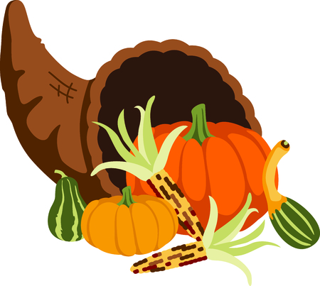 horn of plenty: Fall is the season to give thanks. Add this cornucopia to your Thanksgiving design.