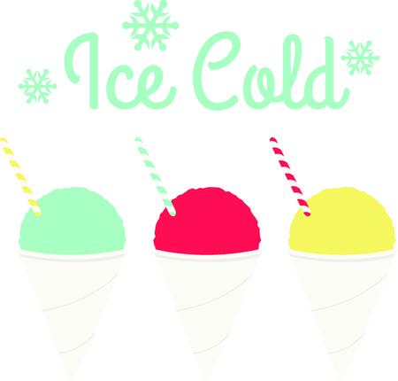 Drie smaken van sneeuw kegels voor iced dessert liefhebbers. Stock Illustratie