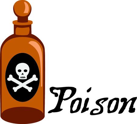 Artículos peligrosos Marcar con una botella poision. Foto de archivo - 43867643