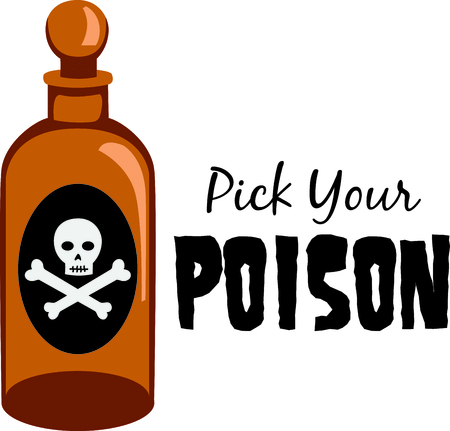 poison bottle: Mark dangerous items with a poision bottle.