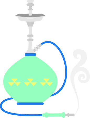 hookah: Colorful hookah pipe for flavored smoking enthusiasts.
