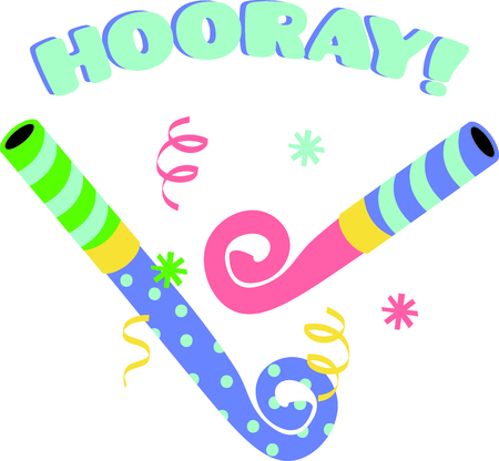 hooray: Noisemakers for the perfectly fun party or celebration.  They are amazing stitched on napkins or party gear.