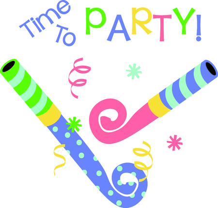 Noisemakers for the perfectly fun party or celebration.  They are amazing stitched on napkins or party gear.