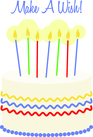 goodie: Say Happy Birthday with the perfect cake.  This beautiful cake is a great way to decorate party favors and goodie bags! Illustration