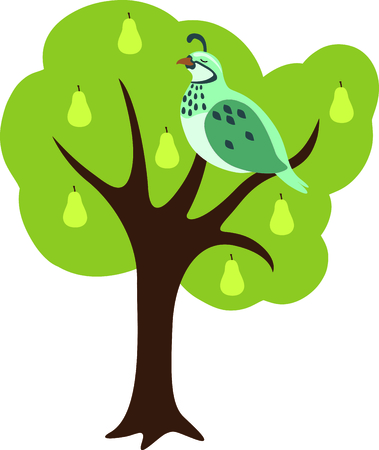 好きな休日の歌、クリスマスの tweleve 日。最初の日では、梨の木にヤマウズラ。