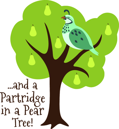 A favorite holiday song, The tweleve Days of Christmas. The first day, a partridge in a pear tree.