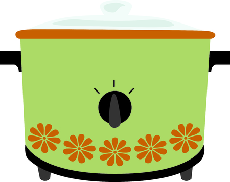 Green retro crock pot for home kitchen decor or as a gift.