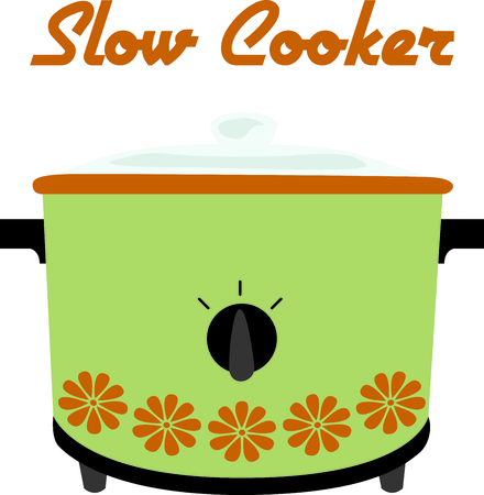crock pot: Green retro crock pot for home kitchen decor or as a gift.
