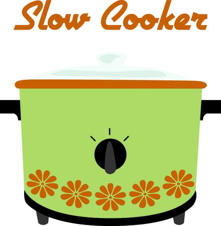 crock: Green retro crock pot for home kitchen decor or as a gift.