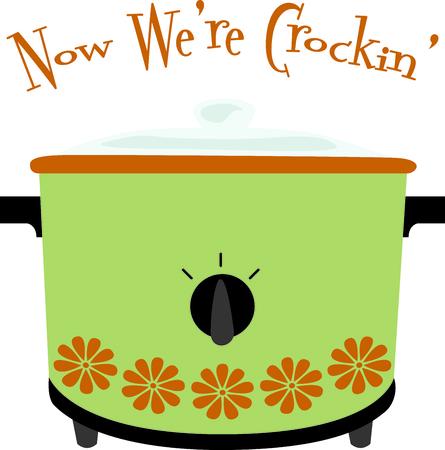 crock: Green retro crock for pot home kitchen decor or as a gift.