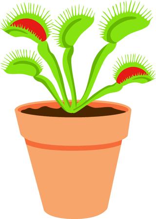 このフライ トラップ植物を使用して、それらの厄介な生き物をキャッチします。  イラスト・ベクター素材
