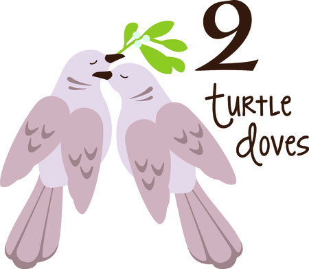 12 days of christmas: A favorite holiday song, The tweleve Days of Christmas. The second day, two turtle doves.