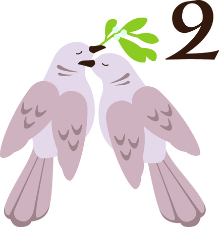 religious music: A favorite holiday song, The tweleve Days of Christmas. The second day, two turtle doves.