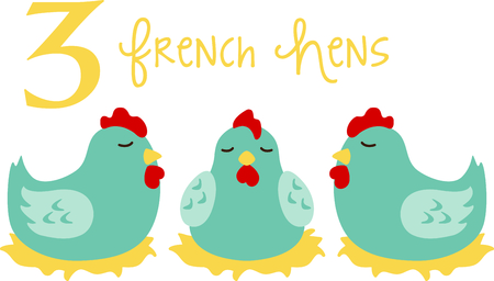 좋아하는 휴일 노래, 크리스마스의 tweleve 일. 세 번째 날, 세 프랑스어 암탉.