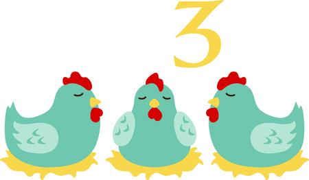 Een favoriete vakantiebestemming nummer, The tweleve Days of Christmas. De derde dag, drie Franse kippen.
