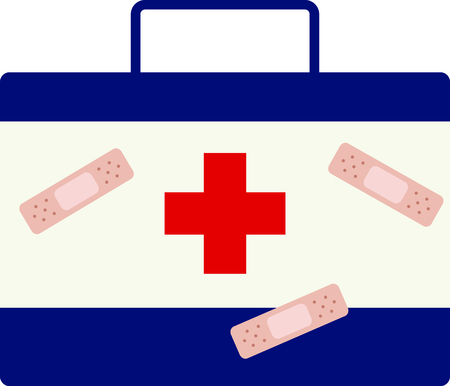 Have a first aid kit handy for kids boo boos. 向量圖像
