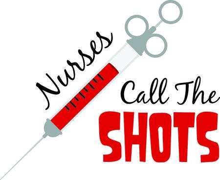 Nurses give shots to save lives. 向量圖像