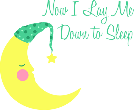 Sleepy cresent moon for baby and small child room decorating and gifts. Illustration