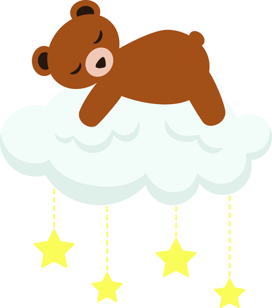 sleeping room: Sleeping teddy bear for baby and small child room decorating and gifts.