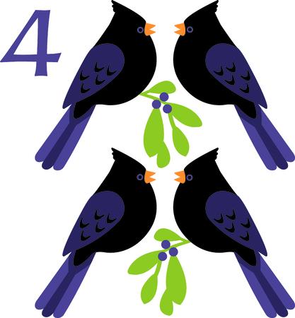 Ein Lieblingsfeiertag song, Die tweleve Tage von Weihnachten. Der Tag an vier nennende Vögel. Oder ist es vier schwarzen Vögel aus dem Kinderlied Standard-Bild - 43867721