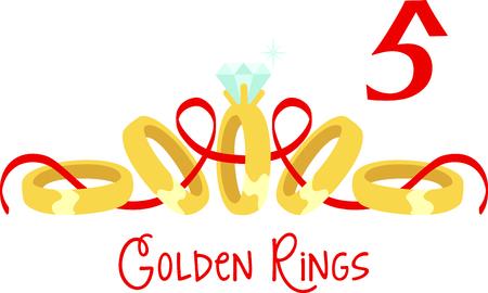 Ein Lieblingsfeiertag song, Die tweleve Tage von Weihnachten. Der fünfte Tag, fünf goldene Ringe. Standard-Bild - 43867763