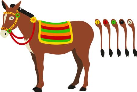 donkey tail: Nuestro burro lindo necesita su cola puestas en nuestro peque�o individuo lindo. �l es una adici�n linda a su engranaje de la fiesta. Vectores