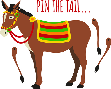 Our cute donkey needs his tail pinned on for our cute little guy.  Hes a cute addition to your party gear.