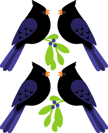 day nursery: A favorite holiday song, The tweleve Days of Christmas. The forth day, four Calling Birds. Or is it four black birds from the nursery rhyme