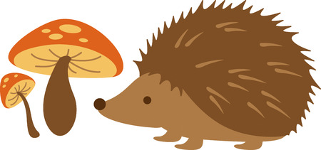 critter: Cute little hedgehog standing by mushrooms. Perfect for a Valentine.