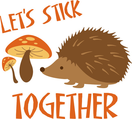 Cute little hedgehog standing by mushrooms. Perfect for a Valentine.