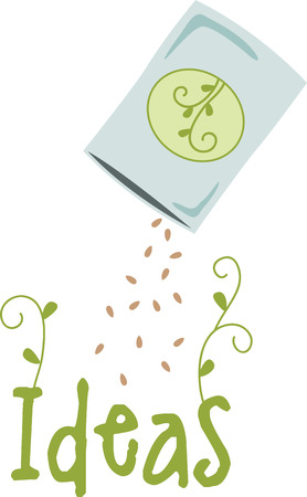 pouch: Seeds pouring out of a pouch, ready to be planted. Illustration