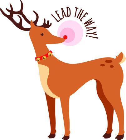 nariz roja: Rodolfo, el reno de la nariz roja para ese ni�o especial en Navidad. Vectores