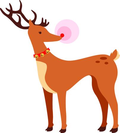 nariz roja: Rodolfo, el reno de la nariz roja para ese niño especial en Navidad. Vectores