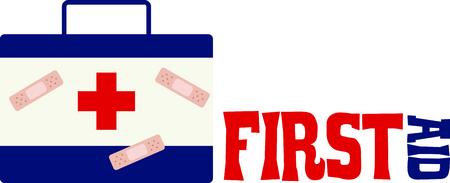 Avoir une trousse de premiers soins à portée de main pour les enfants huent huées. Banque d'images - 43867826